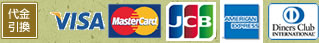 代金引換 / VISA / MasterCard / JCB / AMERIKAN EXPRESS Diners / Club INTERNATIONAL
