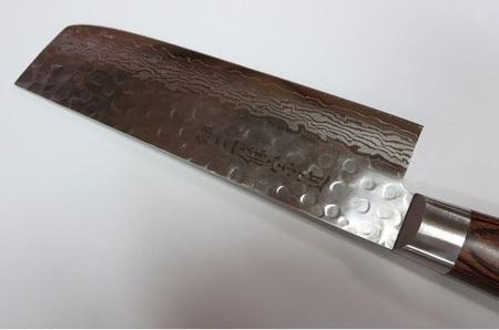 ダマスカス V金10号 積層17層鋼 槌目 薄刃